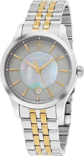 Victorinox Swiss Army Alliance 35MM Grey Mother-of-Pearl Face Date Two-tone Stainless Steel Womens Swiss Watch 241753