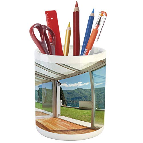 Pencil Pen Holder,Landscape,Printed Ceramic Pencil Pen Holder for Desk Office Accessory,Apartment Villa with Patio and Garden Mountain Ocean Sunny Image