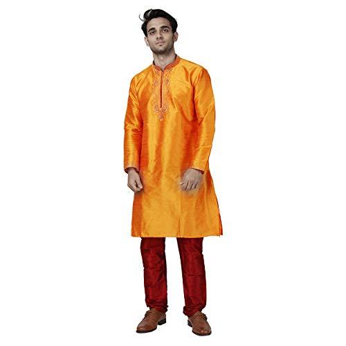 Maharaja Mens Raw Silk Thread Emboridered Kurta Pyjama Set in Orange for Weddings and Festivals [MSKP033-36]