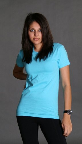 Juniors Baby Jersey T-shirt - American Apparel Womens Fine Jersey Short-Sleeve T-Shirt (2102) -BABY BLUE -2XL