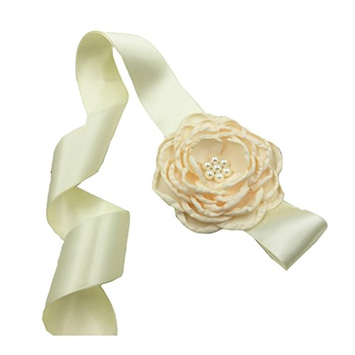 Satin Belt Flower Girl Sash with Burned Layered Flower Wedding Bridesmaid Sash JB23 (8-Ivory)