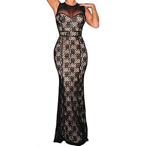 Dearlovers Women Sleeveless Lace Evening Mesh Maxi Party Dress Gown Large Black