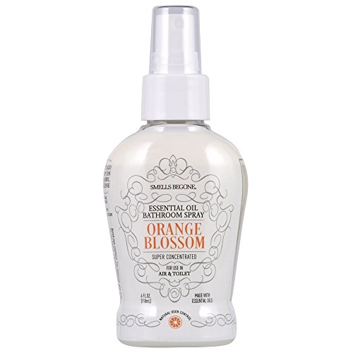 SMELLS BEGONE Essential Oil Air Freshener Bathroom Spray - Eliminates, Neutralizes and Purifies Air & Toilet Odors - Made with 100% Pure Essential Oils - Super Concentrated - 4 Ounces (Orange Blossom)