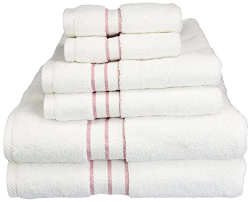 Heritage 6 Piece - Superior Hotel Collection 900 Gram, 100% Premium Long-Staple Combed Cotton 6 Piece Towel Set, White with Tea Rose Border