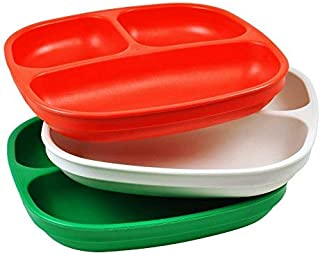 product image for Re-Play Made in USA 3pk Divided Plates with Deep Sides for Easy Baby, Toddler, Child Feeding - Red, White & Kelly Green (Christmas/Holiday/Italian)