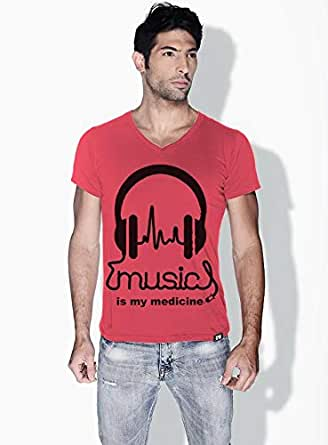 Creo Music Is My Medicine Trendy T-Shirts For Men - L, Pink