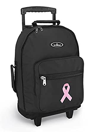 Amazon.com   Pink Ribbon Rolling Backpack Breast Cancer