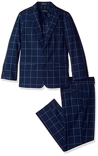 Steve Harvey Big Boys' Three Piece Suit Set, Dark Blue Windowpane, 16 by Steve Harvey