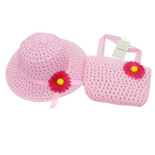YOPINDO Tea Party Hat Purse Set Dress up Floral Straw Sun Hat Beach Cap with Handbag 1-5 Years Old (Pink)
