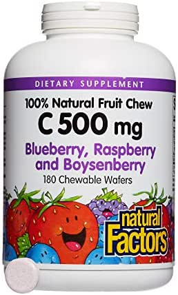Natural Factors, Kids' Chewable Vitamin C 500 mg, Natural Fruit Support for Healthy Bones and Cartilage, Blueberry, Raspberry and Boysenberry, 180 wafers (180 servings)