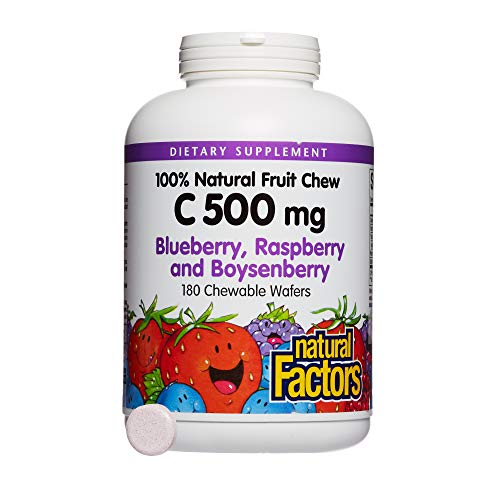 Vitamin C Natural Fruit - Natural Factors - Vitamin C 500mg, 100% Natural Fruit Chew, Blueberry, Raspberry, & Boysenberry, 180 Chewable Wafers