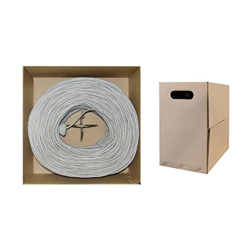 C&E 1000 feet CAT5E 24AWG 4PR Solid Shielded  Ethernet Cable STP Grey