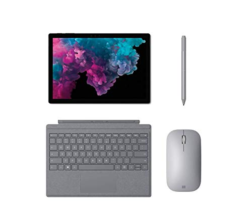 """Microsoft Surface Pro 6 Bundle, 12.3"""" PixelSense Touchscreen, 2736x1824, 267 PPI, Intel Core m3, 4GB RAM, 128GB SSD, Win 10 Home, with Official Type Cover, Mouse and Pen (Platinum Mobile Mouse)"""