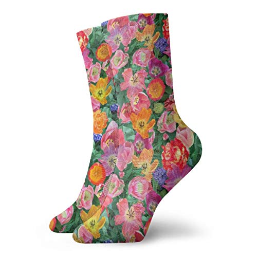 Classics Compression Socks,Bird's Eye View of The Flower Bed Sport Athletic 11.8inch(30cm) Long Crew Socks for Men Women (Birds Bed View Eye)