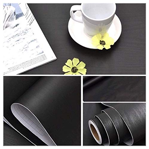 (Black Faux Wood Contact Paper Self Adhesive 15.8 x 118 Decorative Vinyl Film Wood Grain Wallpaper for Cabinets Kitchen Furniture Countertop Shelf Liner Drawers Liner Surfaces Easy to Apply and Clean)