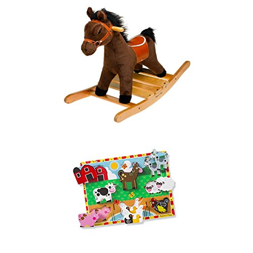 Melissa & Doug Bundle Includes 2 Items Plush Rocking Horse - Wooden Base and Handles Plus Saddle and Harness Farm Wooden Chunky Puzzle (8 pcs) - Melissa And Doug Rocking Horse