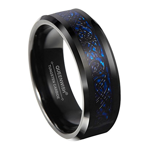 (Queenwish 8mm Blue Black Celtic Dragon Tungsten Carbide Ring Wedding Band Size 12.5)