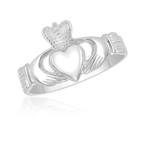 Ladies 10K White Gold Claddagh Ring – Wedding – Engagement – Promise – Heritage – Irish – English
