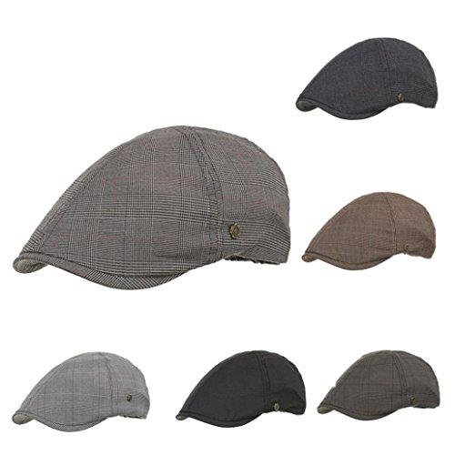 Nacome Unisex Newsboy Flat Cap Gatsby Caps Fashion British Style Peaked Cap Baseball Hat for Women Men (Black)]()