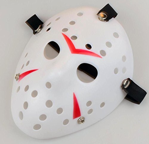 [Gmasking Friday The 13th Horror Hockey Jason Vs. Freddy Mask Halloween Costume Prop (White-Red)] (Horror Mask)