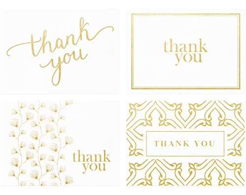 - 100 Thank You Cards Bulk - Thank You Notes, White & Gold - Blank Note Cards with Envelopes - Perfect for Business, Wedding, Graduation, Bridal and Baby Shower - 4x6 Photo Size (white)