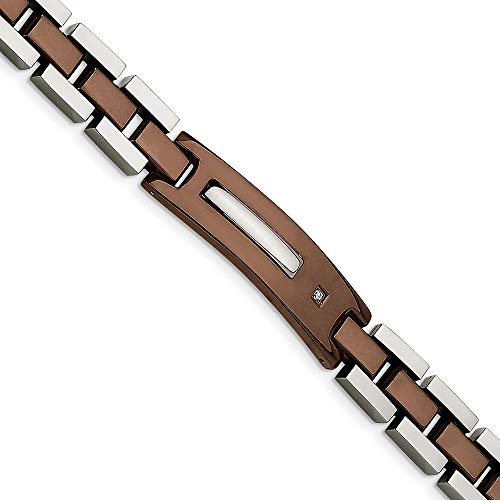 Chisel Stainless Steel Chocolate IP-Plated with Diamond Bracelet, 8.5