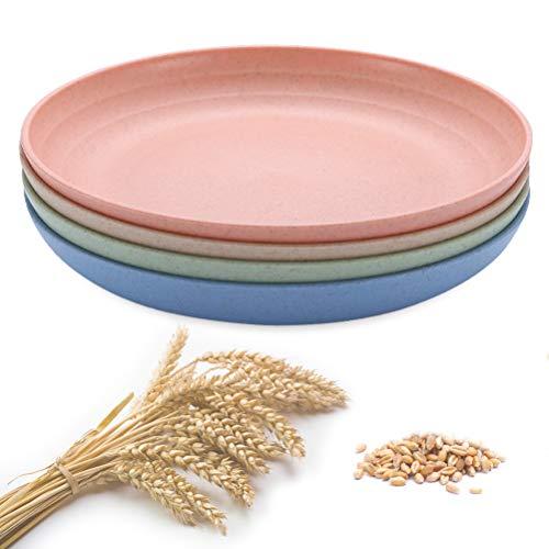 Plastic Plates, Degradable Lightweight Wheat Straw Plates, Anti-broken Reusable Adult Toddler Dinner Plates, 7.87 4 Pack