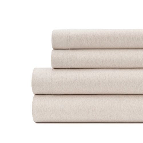 Briarwood Home Jersey Knit Sheet Set - Soft & Luxurious Cotton Bedding - 150 GSM - Breathable Bed Sheet - Deep Pocket, Comfortable, Cozy T-Shirt Soft All Season Heather Sheets (Full, Oatmeal) ()