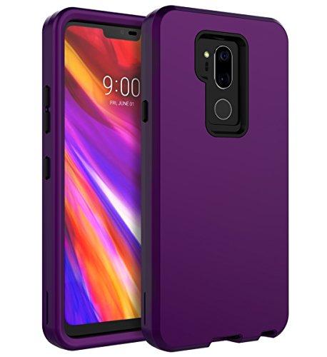 LG G7 ThinQ Case,LG G7 Case,SKYLMW Three Layer Heavy Duty High Impact Resistant Hybrid Protective Cover Case for LG G7 ThinQ/LG G7, Purple