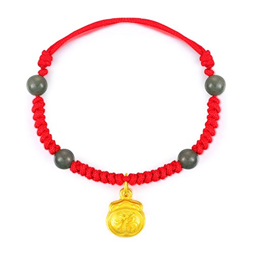 MaBelle 24K Gold Charm Chinese Character Fu Fortune Good Luck Red Braided Bracelet For Baby Boys Girls by MaBelle