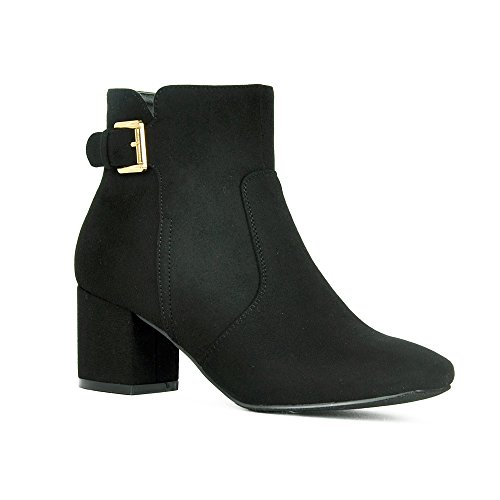 WestCoast Womens Chunky Block Heel Booties with Adjustable Buckle Strap Cutout Ankle Boots