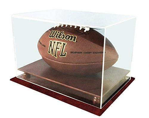 (DECOMIL UV Protection Football Display Case Holder, ALL 4 sides visible, Solid Wood Base - Cherry Finish)