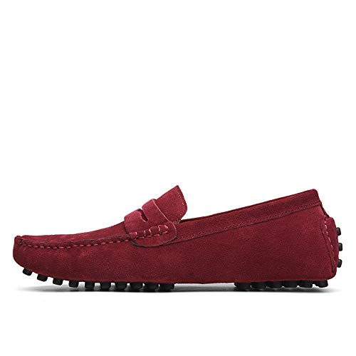uomini per dimensioni di classiche Qiusa EU su comode pelle da in scarpe 44 guidano Mocassini grandi Colore Dimensione di barca moda scivolare Rosso che xXXqTYU