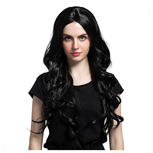 Half Life 2 Costumes Sale (Long Curly Wigs, Inkach Women Girls Loose Wavy Syntheic Front Wig Natural Full Hair Wigs Black)