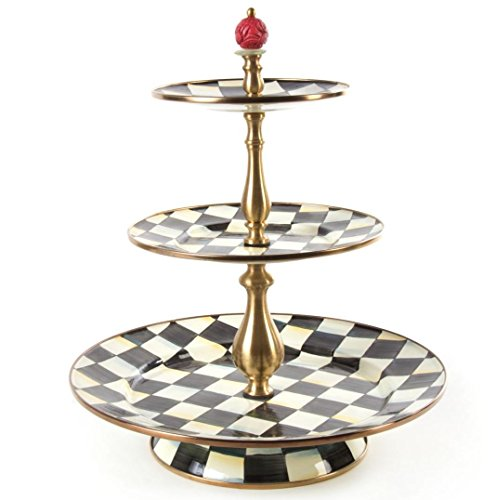 (Mackenzie-Childs Courtly Check Enamel Three Tier Sweet Stand - Cake Stand - Party Server Display Set - Stainless Steel - 12