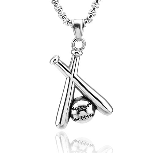 HZMAN Baseball and Baseball Bat Cross Youth Sports Stainless Steel Pendant Necklace 24'' Chain (Silver)