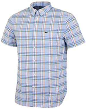 Lacoste Men's Men's Blue Checked Short Sleeve Shirt in Size XL-2XL Light Blue