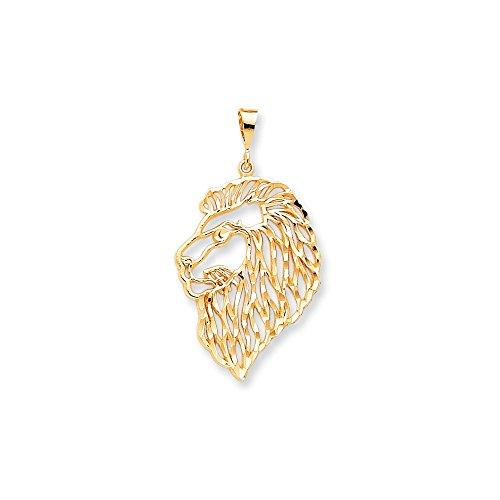 Core Gold 10k Solid Diamond-cut Lions Head Charm