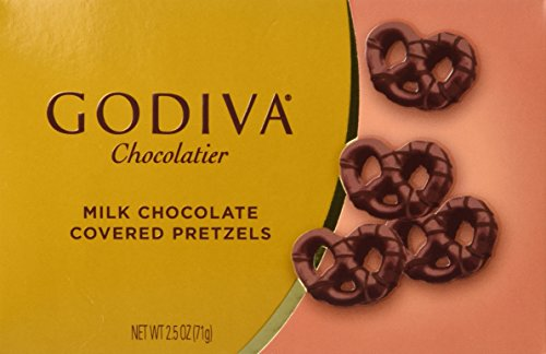 Godiva Milk Chocolate Covered Mini Pretzels 2.5 Oz Box (3 Pack)