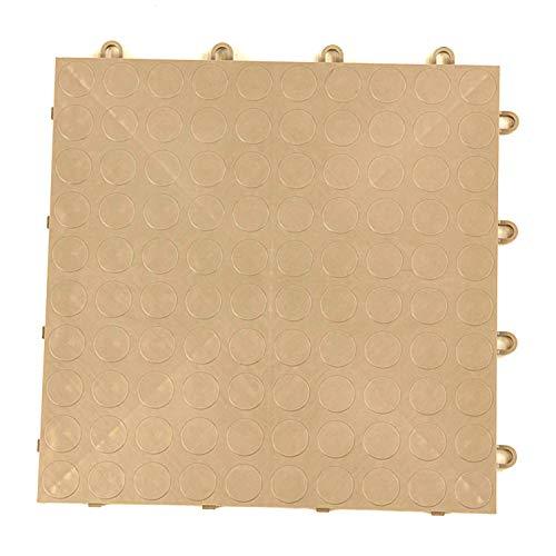 (IncStores Coin Grid-Loc Garage Flooring Snap Together Mat Drainage Tiles (12 Tile Pack - Sahara Sand))