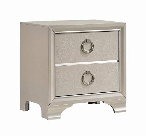 Coaster Salford Glam Metallic Sterling Nightstand 222722 (Lane Furniture Sterling)