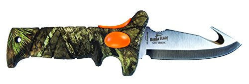 Bubba Blade 4 Inch Gut Hook Knife with Mossy Oak Break-Up Country Camo, Non-Slip Grip Handle, Full Tang Stainless Steel Blade, Lanyard Hole and Synthetic Sheath for Skinning and Hunting