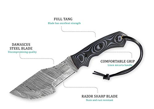 Perkin Knives – Hunting Knives with Leather Sheath Damascus Blade