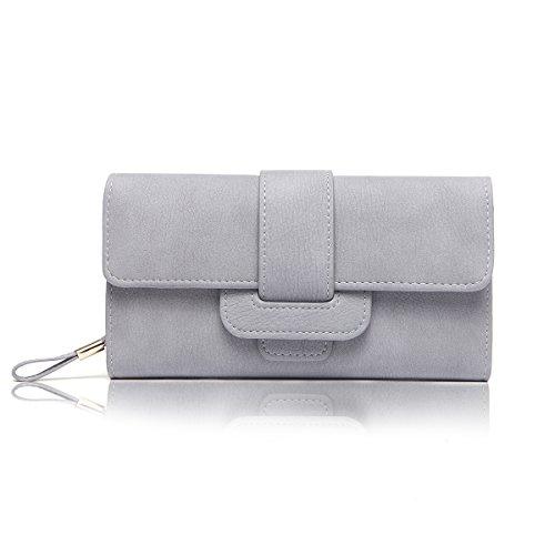 Women Leather Long Wallet (Gray) - 2