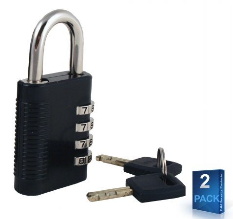 FJM Security SX-575-PK2-KEY1 Combination Padlock With Key Override And Code Discovery (Ck Shackle)