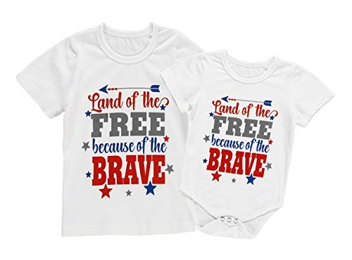 4th of July Toddler Baby Girl Land of The Free Because of Brave Matching Outfits Kids Romper Set (0-3 Months, White-Bodysuit) ()