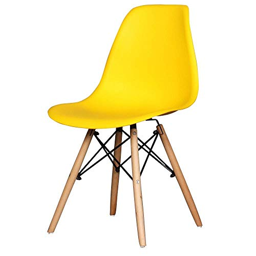 KLSJJ Modern Dining Plastic Chair with Eiffel Retro Wooden Legs Dining Office Bedroom Kitchen Desk Plastic Eiffel Chairs - Multi-Color Optional (Color : Yellow)