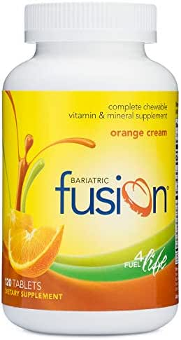 Bariatric Fusion Complete Chewable Multivitamin and Mineral Supplement Orange Cream 120 Tablets for Gastric Bypass and Sleeve Gastrectomy