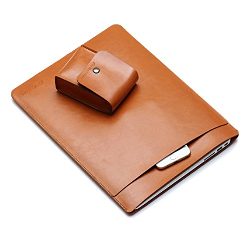 Eli Martina MacBook Air 13'' Leather Sleeve Case, and Soft Leather Bag Laptop Sleeve Notebook Snug Cover Case For Apple Macbook Air 13-inch Laptop (Brown)
