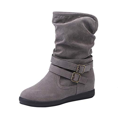 Creazrise Women Round Toe Mid-Calf Boots Fashion Flat Buckle Riding Boot Ladies Hidden Heel Booties (Gray,31)